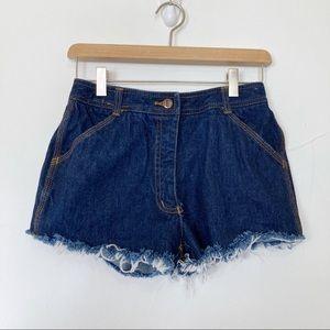 Vintage high waisted cutoff jean shorts dark wash